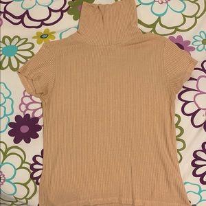 Brandy Melville Tan Short-Sleeve Turtleneck